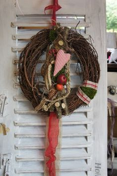 Diy Wreath, Door Wreaths, Grapevine Wreath, Christmas Advent Wreath, Christmas Time, Tree Crafts, Diy And Crafts, Valentine Tree, Fall Decor