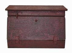 Bread Box Country Rustic Primitive Aged Wood Finish Burgundy/black: Kitchen & Dining