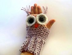 Owl fingerless gloves #crochet #pattern