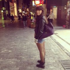 Jeans shorts PB , boots Elite, leather jacket PB,handbag Michael Kors