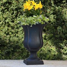 MPG 12 in. x 17 in. Cast Stone Sol Urn on Square Base in Aged Charcoal Finish-PF6214AC - The Home Depot