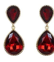 Buy Maroon Dual Droplet Drop Earrings Online