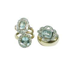 AQUAMARINE & DIAMOND RINGS BY #LANNAHDUNN #Eternityrings #vintageromance #Toowoombaweddings #brisbaneweddings #sydneyweddings #bridetobeloves #bridetobe