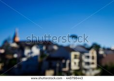 Blurry highland town in early morning with blue sky, which can use as background. Taken on a famous travel city of Vietnam.