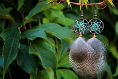 Light Blue and Orange Dream Catcher Earrings by nZuriArtDesigns