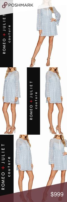 """ROMEO + JULIET couture  •  єтнєʀєαℓ ∂ʀєѕѕ Romeo + Juliet couture * dress * medium * baby blue * round  neckline * long bell sleeves * empire waist * front button placket on lace overlay * finished subtly scalloped hems * intricate lacy multi-pattern design * 70% cotton / 30% nylon * length ~ approx 34"""" * brand new  * spring * summer * boho * ethereal * pastel * mini * short * shift * festival * easter * romantic * feminine * baby shower * wedding * honeymoon * date * weekend * sexy * flirty…"""