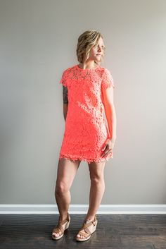 Women's Bright Coral Lace Dress – The Modern Thread