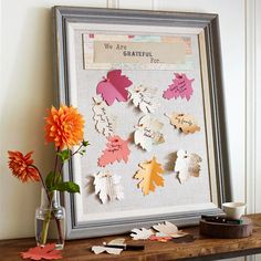 Tis the season for thankfulness! Daily reminders of thanks is a great way to remind people of the reason for the season: http://www.bhg.com/thanksgiving/crafts/colorful-simple-fall-projects/?socsrc=bhgpin092814leafnoteboard&page=9