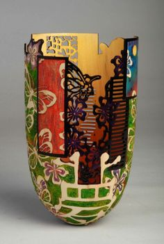 Binh Pho, Box elder, acrylic paint, dye - This could be done with a Tall Body Gourd