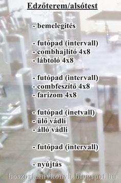 Boszorkánykonyha: Mai edzés: alsótest + intervall futás futópadon