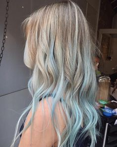 Hottest No Cost blue hair tips Thoughts , Blonde Hair With Blue Highlights, Blonde And Blue Hair, Baby Blue Hair, Pastel Blue Hair, Brown Ombre Hair, Ombre Hair Color, Blonde Brunette, Hair Colour, Blue Tips Hair