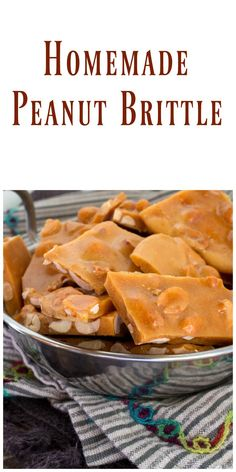 Homemade Peanut Brittle - Easy to make an absolutely delicious, This homemade brittle is better than anything you can buy in a store! Candy Recipes, Baking Recipes, Holiday Recipes, Snack Recipes, Dessert Recipes, Snacks, Christmas Recipes, Family Recipes, Easy Desserts