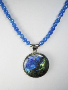 Large Blue Labradorite Pendant Necklace  by TurtleCoveDesigns