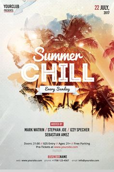Summer Chill Party PSD Flyer Template - https://ffflyer.com/summer-chill-party-psd-flyer-template/ Enjoy downloading the Summer Chill Party PSD Flyer Template created by Fidanselmani   #Beach, #Club, #Dance, #Dj, #Edm, #Electro, #Event, #Nightclub, #Party, #Summer, #Tropical