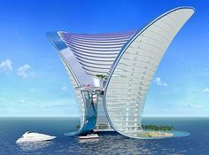 Hotel Dubai - An amazing architecture design, with a beautiful waterfront, and a yacht view on the ocean blue water. Zaha Hadid Design, Unusual Buildings, Interesting Buildings, Amazing Buildings, Modern Buildings, Architecture Unique, Futuristic Architecture, Hotel Architecture, Futuristic Houses