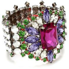 """LK Designs """"Summer Breeze"""" Multi-Color Neon Crystal Flower Bracelet found on Polyvore"""