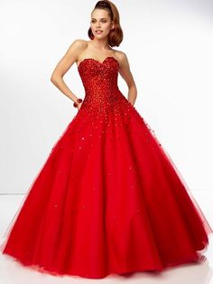 192ec2da8cb5d Gothic Sweetheart Neckline Ball Gown Full Length Red Tulle Sweet 15 Dresses  With Beaded at buytopdress