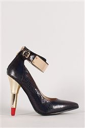 Red Kiss Lipstick Beauty Black Snake Pointy Toe Ankle Cuff Pump