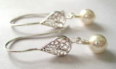 Bridal pearl earrings Sterling Silver by JewelrybyDorothy on Etsy, $24.00