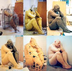Making of art : Ron Mueck sculpture giant man, 2008 This is a great over sight to the artist at work and the stages that Mueck has went through to create the final product.
