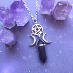 Crystal necklace, Witch Moon Pentacle necklace, triple goddess, wiccan... ($33) ❤ liked on Polyvore featuring jewelry, necklaces, crystal necklace, amethyst jewellery, amethyst necklace, rose quartz crystal necklace and crystal stone jewelry