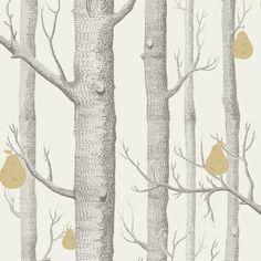 Cole & Son WOODS & PEARS CHARCL/LIN/GLD Wallpaper