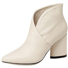 Nine Seven Womens Genuine Leather Pointed Toe Mid Chunky Heel Handmade Comfortable Side Zipper Short Ankle Booties
