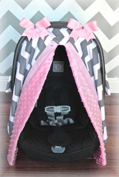 MINKY, carseat canopy, car seat cover, light PINK, gray, GREY, white, chevron, polka dots, bows, baby, girl, baby girl, baby boy, infant boy
