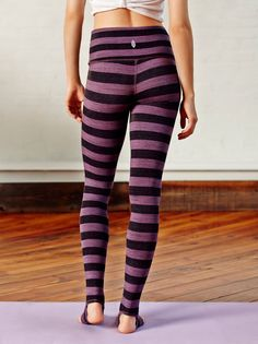 Namaste Leggings | Striped heavy-knit activewear legging with Picot Performance open heels and rollover waist detailing. Printed with a soothing stripe pattern. Stretchy fit and extra soft for a comfortable workout.