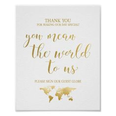 Globetrotter Glam   Globe Guest Book Sign