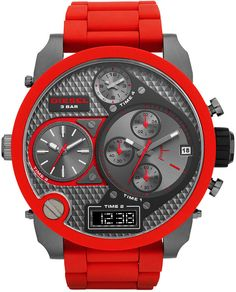 Diesel Watch, Men's Analog-Digital Red Silicone-Wrapped Stainless Steel Bracelet 57mm DZ7279 $395.00