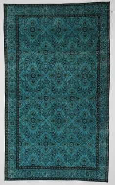 Teal Medallion Vintage Turkish Rug by bazaarbayar on Etsy