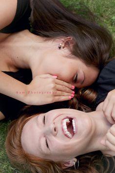 a good laugh between friends  highschool senior best friends
