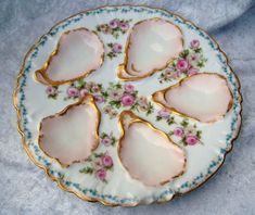 "Gorgeous Vintage Double Mark GOA France & GDA France Limoges Hand Painted ""Pink & White Roses With Chains of Forget Me Not"" Floral Oyster Plate Oyster Bed, Antique China Cabinets, Porcelain Clay, Chocolate Pots, Serving Dishes, Oysters, Pink Roses, White Roses, Pink White"