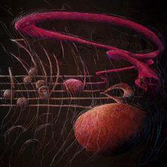 """Slip noderne fri og musikken løs""  by Birgitte Busk.  Strange, 'fuzzy' musical notes - I think they must be playing something by Pink Floyd."