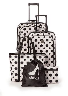 New Directions® 5-Piece Cream with Black Dot Luggage Set