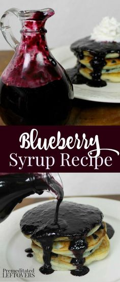 Enjoy homemade blueberry syrup on your pancakes and waffles for breakfast or as an ice-cream sauce for dessert. Use this quick and easy recipe for blueberry syrup made with blueberries and blueberry juice. Blueberry Syrup, Blueberry Juice, Blueberry Recipes, Recipes With Blueberries, Homemade Syrup, Homemade Sauce, Homemade Recipe, Salsa Dulce, Pancakes And Waffles