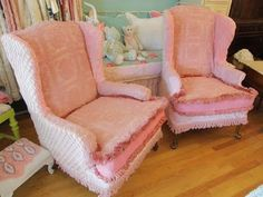 custom made pair wingback chairs vintage by VintageChicFurniture, $995.00
