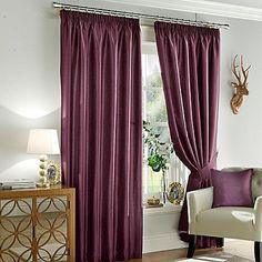 Huis Gordijnen, zonwering BlackCurrant Faux Silk Curtains Microfibre Lining Eyelet Free Tie backs 90 x 90