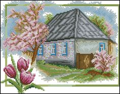 """Cross-stitch pattern """"Spring"""" Don't miss: cross-stitch pattern """"Seasons-Summer"""" See more free cross-stitch patterns Fabric: Aida… Counted Cross Stitch Kits, Cross Stitch Charts, Cross Stitch Designs, Cross Stitch Patterns, Embroidery Kits, Cross Stitch Embroidery, Cross Stitch Landscape, Spring Birds, Embroidery Techniques"""