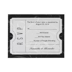 Black and White Wedding Ticket RSVP Card invitation