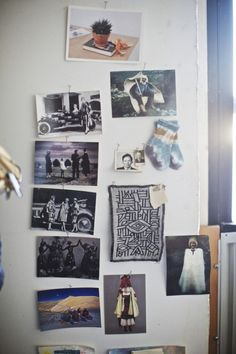 Some inspiration in the studio - Sonia Delaunay's coat & car designs, balkan felted capes, a studio shot by the artist Paul Sepuya (he's the best, I try to work with him any time I get the opportunity), an embroidery swatch that I made, and boris old and young, who I found on the street in Berlin 2003 and has come with me everywhere I've moved since then.