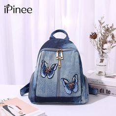 b8cb8b81c75d 51% СКИДКА|IPinee женские повседневные Рюкзаки джинсовая сумка бабочка  вышивка средняя Femme школьная сумка Mochila plecak szkolny купить на  AliExpress