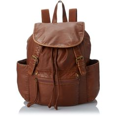 LuLu Washed Backpack ($16) ❤ liked on Polyvore featuring bags, backpacks, brown faux leather bag, lulu bags, woven backpack, vegan leather bags y shoulder strap backpack