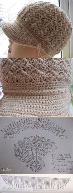 diyideas.ru Chunky Crochet Hat, Crochet Summer Hats, Crochet Cap, Filet Crochet, Crochet Motif, Crochet Baby Hat Patterns, Crochet Beanie Pattern, Crochet Baby Hats, Knitting Patterns