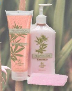 Hemp Nation Pomaberry Kit includes Hemp Nation Pomaberry Body Lotion, Fruit & Sugar Scrub and FREE Exfoliating Cloth