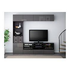 """BESTÅ TV storage combination/glass doors - black-brown/Selsviken high-gloss/gray clear glass, drawer runner, soft-closing, 94 1/2x15 3/4x90 1/2 """" - IKEA"""