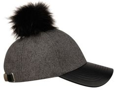 Women Gray Wool  Black Faux Fur Pom Pom Leather Brim Baseball Cap. Get the lowest price on Women Gray Wool  Black Faux Fur Pom Pom Leather Brim Baseball Cap and other fabulous designer clothing and accessories! Shop Tradesy now