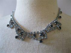 1950s Rhinestone Necklace  Vintage 50s Bridal by ladyscarletts