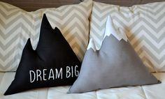 Mountain pillow Dream big or Explore hand embroidered inspirational quote - Nursery decor, mountain cushion, cabin pillow - by Cabin Studio by CabinStudio on Etsy https://www.etsy.com/listing/231546734/mountain-pillow-dream-big-or-explore